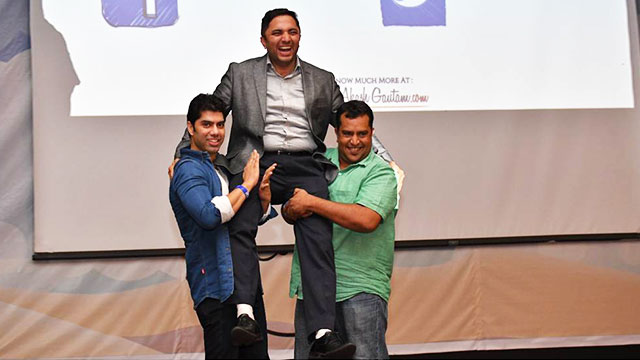 Malaysia -Appadurai A., Country Head- India & Sri Lanka , HP (Hewlett Packard) lifts Akash up on his shoulders during Thanks giving